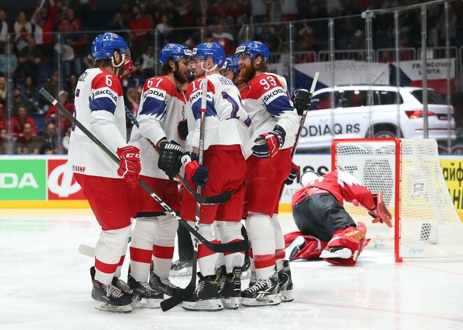 Čekų ir austrų rungtynės | IIHF nuotr.