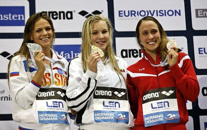 Rūta Meilutytė po 2013 Europos čempionato 100 metrų krūtine finalo   Scanpix nuotr.