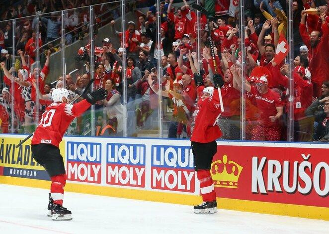Švedų ir šveicarų rungtynės | IIHF nuotr.