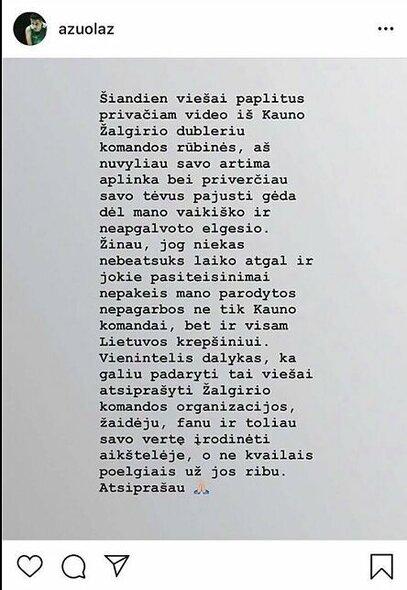 Ąžuolo Tubelio žinutė   Instagram.com nuotr