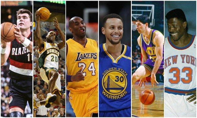 Arvydas Sabonis, Gary Paytonas, Kobe Bryantas, Stephenas Curry, Johnas Stocktonas ir Patrickas Ewingas | Scanpix nuotr.