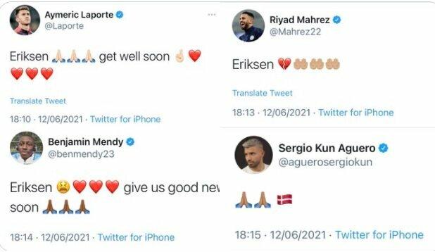 "Futbolininkų linkėjimai Ch.Eriksenui   ""Twitter"" nuotr."