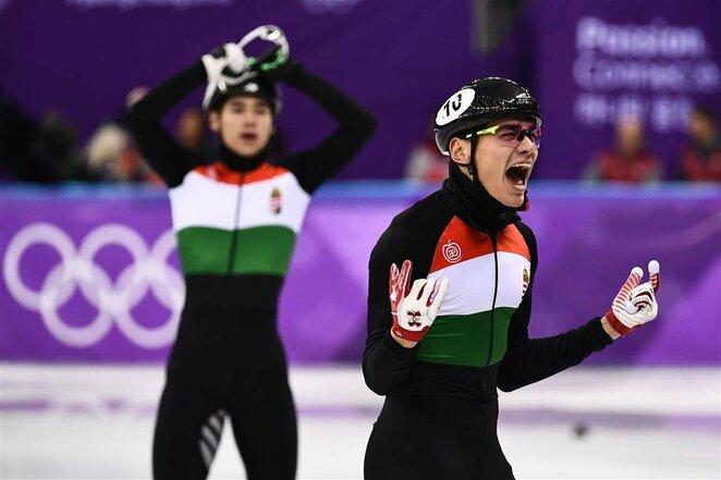 Vyrų greitojo čiuožimo trumpuoju taku 5000 m persekiojimo lenktynės | Scanpix nuotr.