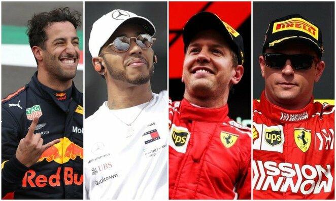 Danielis Ricciardo, Lewisas Hamiltonas, Sebastianas Vettelis ir Kimi Raikkonenas | Scanpix nuotr.