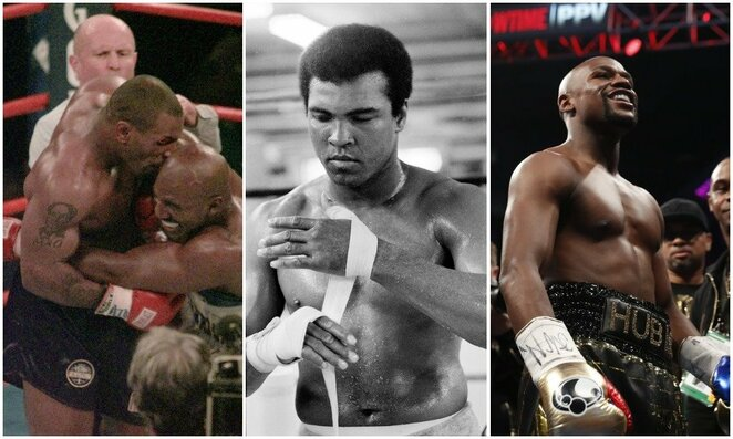 Mike'as Tysonas, Evanderis Holyfieldas, Muhammadas Ali ir Floydas Mayweatheris | Scanpix nuotr.
