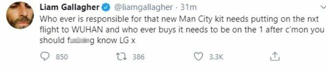 "Liamo Gallagherio komentaras   ""Twitter"" nuotr."