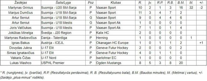 Lietuvių statistika jaunimo lygose | hockey.lt nuotr.