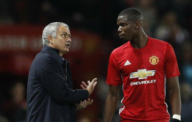 Jose Mourinho ir Paulis Pogba | Scanpix nuotr.
